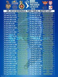 Ipl 2018 Match Schedule Images Match Schedule Match List