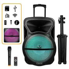 Trexonic 15 in. Portable <b>Bluetooth Speaker</b> with Tripod Stand ...