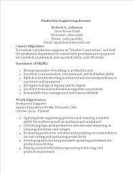 Production Engineering Resume Templates At