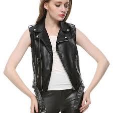 leather vest women fashion 2016 leather colete femininon black crochet top gilet waistcoat turn down collar vest free