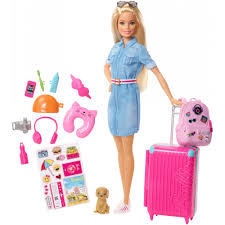barbie doll and travel set with puppy luge 10 accessories