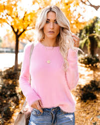Fuzzy Light Pink Sweater Cotton Candy Fuzzy Knit Sweater Final Sale Fall Outfits
