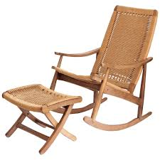 Woven Rope Mid Century Modern Rocking Chair And Ottoman At Stdibs Outdoor With Hidden