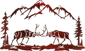 elk in rut challenge metal wall art hanging by neil rose select color shown in ws which is no longer available still available in honey pinion and rustic  on neil rose metal wall art with elk in rut challenge metal wall art hanging by neil rose in walnut