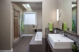 modern bathroom backsplash. Elegant Multi Level House Maximizing Natural Material Applications: Mosaic Glass Tile Backsplash With White Sink Modern Bathroom