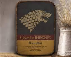 Game Of Thrones Stark House Crest Wooden Plaque House stark art Etsy 24