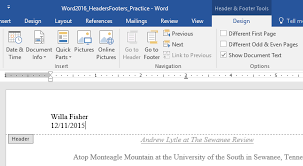 Microsoft Word Update All Fields Word 2016 Headers And Footers
