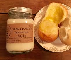fresh yeast rolls aunt freda s homemade rolls scented candle handmade candle wood wick soy candle small batch candle bread
