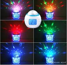 children room sky star night light projector lamp bedroom alarm clock with sleeping desktop for