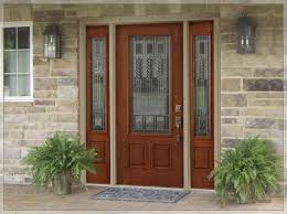 brown wooden home depot entry doors with side lights for home decoration ideas