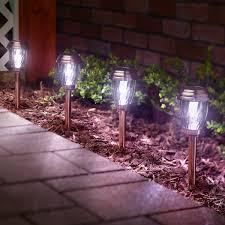 Smart Living Charleston Copper Finish Pathway Lights Charleston Solar Pathway Lights Copper 6 Pack Walmart Com