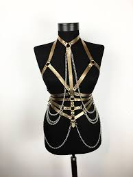 gold leather harness with chains waist belt harness chest harness leather top leather belt leather cage belt