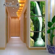 "<b>FULLCANG diy 3 pieces</b> diamond painting ""natural scenery waterfall ..."