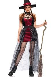 LEG AVENUE CELESTIAL WITCH COSTUME. New version of the popular Halloween  costume features burgundy velvet dress with celestial star design and  matching hat.