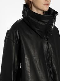 vestes en cuir isaac am noir femme isaac am women s black high collar padded leather jacket
