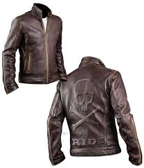 men s cafe racer biker distressed brown leather jacket with embossed skull and bones