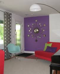 Decorating Walls With Interesting Decorating With Lavender Color Walls With Red Sofa
