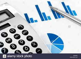 Financial Concept Stock Chart With Calculator And Pen Stock