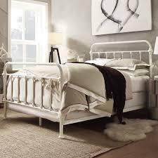 Off White Metal Bed Frame Queen