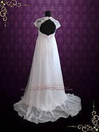 empire chiffon wedding dress. beach empire soft chiffon wedding dress with cap sleeves and keyhole back | ellie w