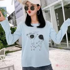 Korean <b>Women Round Neck Cartoon</b> Print Long Sleeve T-shirt ...