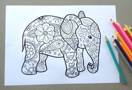 Paisley Elephant Coloring Pages Color Bros