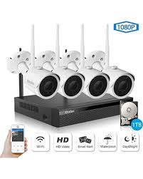 Wireless Security Camera System, Etration 4 Channel 1080P Full HD Video 4pcs Sweet Presidents Day Savings on System
