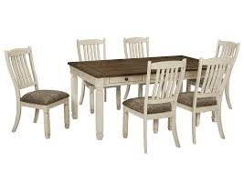 bolanburg antique white rectangular dining room table w 6 upholstered side chairs signature design