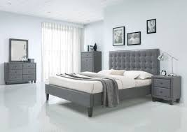 saveria gray faux leather platform bed complete set