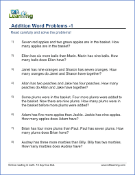 1st grade word problem worksheets - free and printable | K5 LearningGrade 1 Addition Word Problems Grade 1 Word Problems Worksheet