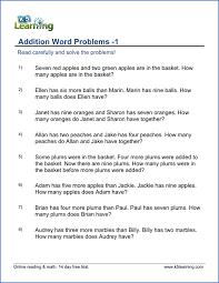 grade 1 addition word problems grade 1 word problems worksheet