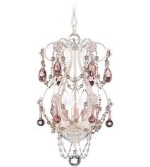 schonbek a la mode 3 light chandelier in cream and pink vintage crystal trim 1843pk photo
