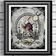 art print on original antique book page goth white rabbit tattoo style by intheframe