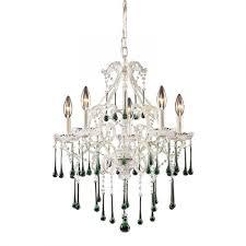 elk lighting 4002 5lm 5 light chandelier in antique white and lime crystal