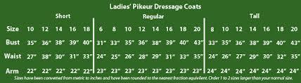 Pikeur Diana Size Chart Pikeur Size Charts