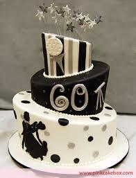 Black And White Topsy Turvy 60th Birthday Cake