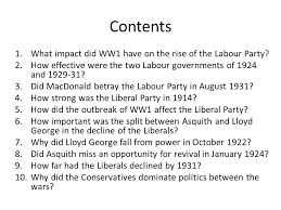 essay plans british history ppt contents what impact did ww1 have on the rise of the labour party