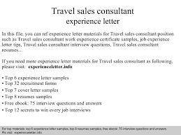 travelsalesconsultantexperienceletter 140828094049 phpapp01 thumbnail 4jpgcb1409218873 cover letter sales consultant