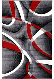 summit gray red abstract area rug