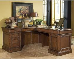 traditional corner executive desk for luxury home office design with nice wall art painting