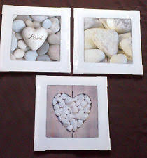 >pebble canvas ebay set 3 grey white pebble stone love heart canvas wall art picture stones bathroom