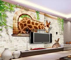New Large Wallpaper Custom Wallpaper 3D Brick Giraffe Squirrel Windows 3d  Mural Wall Paper Papel De
