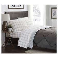 london fog flannel sheet set grey plaid