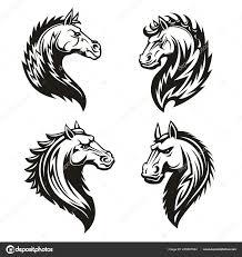 племенные лошади головы талисман или татуировки векторное
