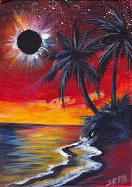 totality beach an eclipse painting acrylic on canvas by the art sherpa theartsherpa