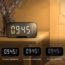 Satış Aynası kablosuz 5.0 Bluetooth LED çalar saat çok fonksiyonlu müzik  çalar elektronik dijital masa saati ile çift Alarm modu < Ev dekoru