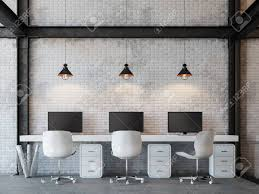 polished concrete floor loft. Loft Style Office 3d Rendering Image.There Are White Brick Wall,polished Concrete Floor Polished F