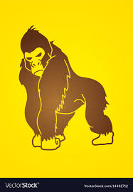 Monkey Graphic Design Gorilla King Kong Angry Big Monkey Graphic Vect