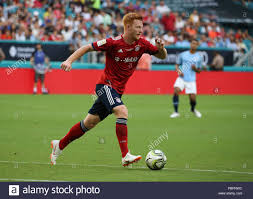 miami gardens florida usa 28th july 2018 fc bayern forward paul will 28 moves the ball during the first half of an international champions cup match