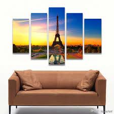 5 Panel Eiffelturm Malerei Wandkunst Leinwand Wandbilder Für Schlafzimmer Wohnkultur Ungerahmt